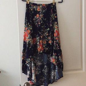 Anthropologie Floral Wrap Skirt